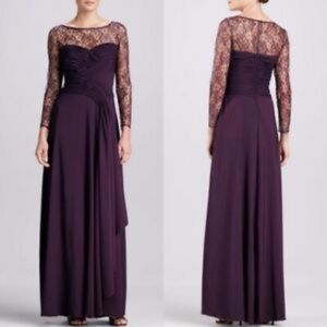 Tadashi Shoji Purple Illusion Lace Draped Gown NWT